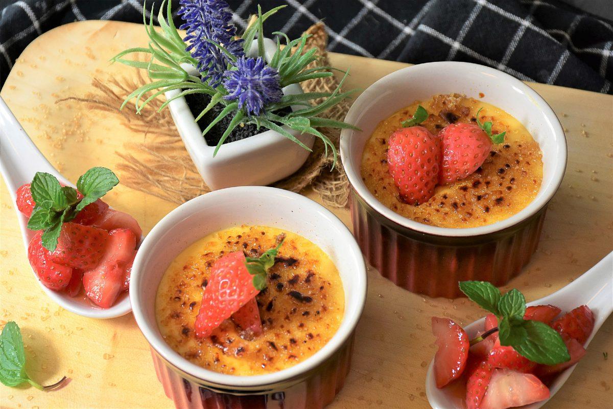 creme brulee aardbeien
